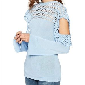 Cable Stitch Pale Blue Sweater with cold shoulders